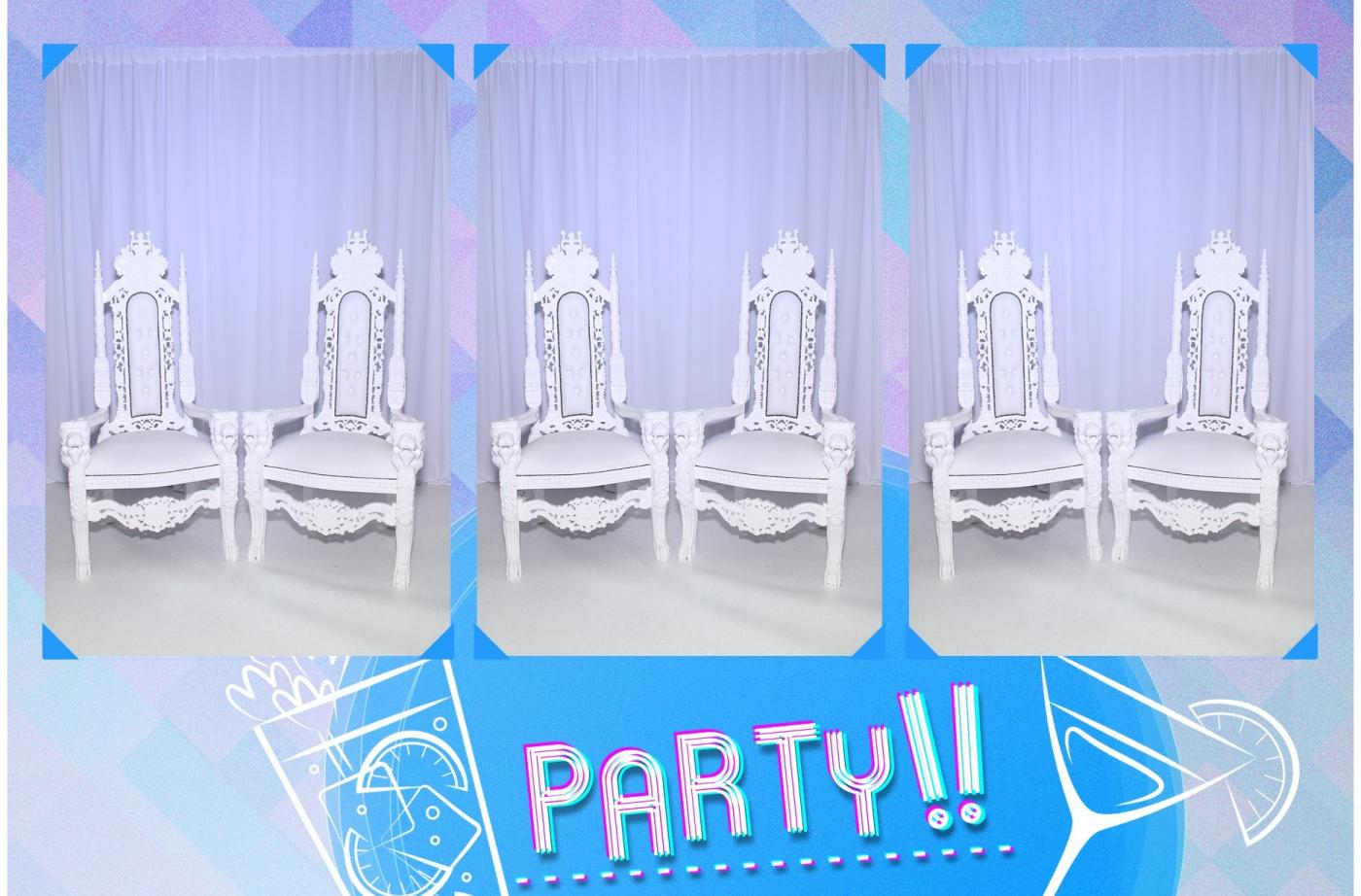 prom chairs and photo booth