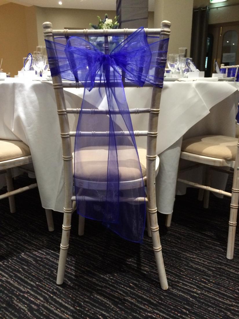 single royal blue sash on chiavari chair
