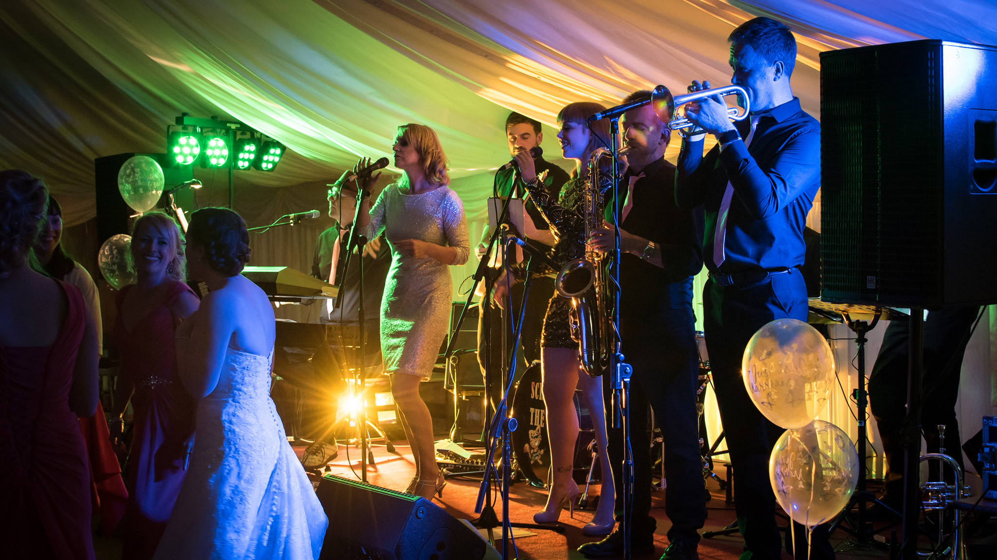 Dancing to the music of Scratch The Cat in a wedding marquee.