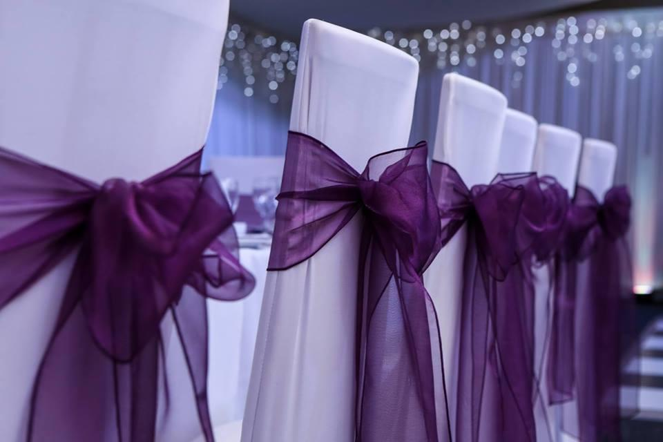 cadburys purple organza sash and chair covers at sprowston manor, norwich