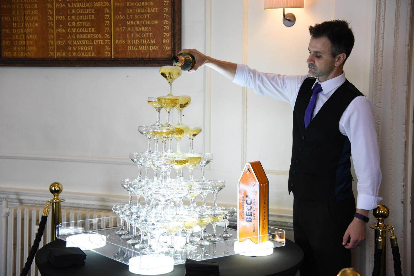 56 x glass champagne tower service for a birthday in london